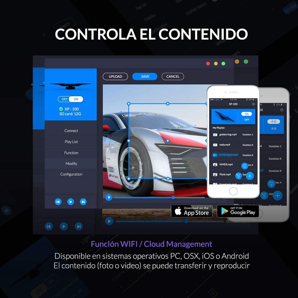 Xpectway 3D Holograma WiFi App Control de publicidad Ventilador LED XP-50C: Amazon.es: Electrónica