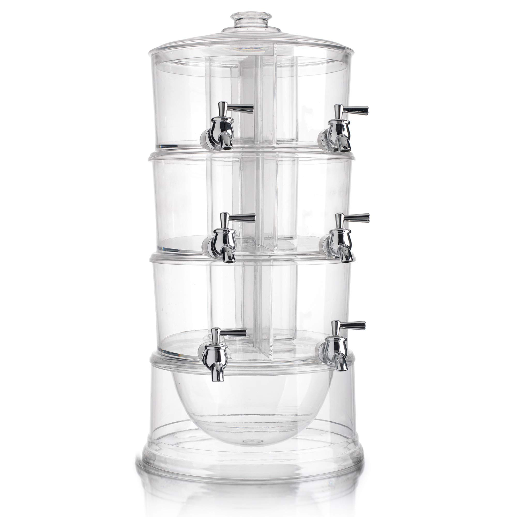 (D) Acrylic S/6 Stackable 1.5Gal Beverage Dispensers with Ice Chilling by GIFTS PLAZA