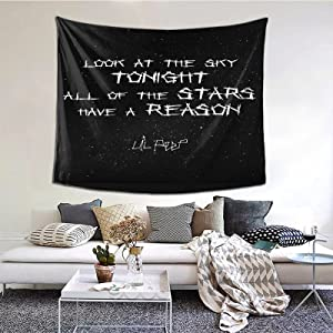 Laupuor Tapestry Lil Peep Star Shopping Lyrics Starry Background Wall Tapestrys Novelty Tapestry Wall Hanging, Art Decor Print Fabric for Bedroom Living Room 60x51in