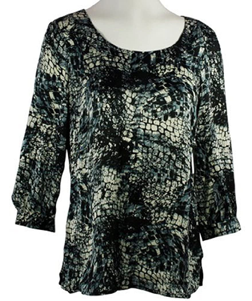 Top with Boat Neck on a Microfiber Body Tribal Pattern Maze