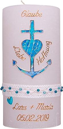 meinkerzenshop Taufkerze Rustik Vintage Kerze zur Taufe f/ür Junge in blau
