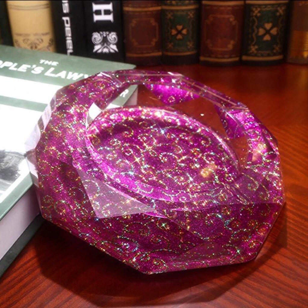 灰皿 パープルレッド雲模様オクタゴンブライトカラースタイルクリスタルガラス灰皿ファッション創造的なパーソナリティギフト UOMUN ( サイズ さいず : 15*15*4cm ) B078Y1M2Z8 15*15*4cm 15*15*4cm