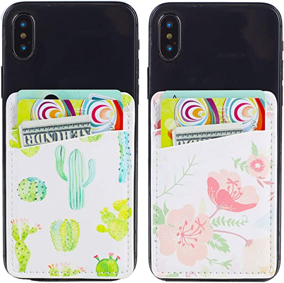 2Pack Adhesive Cell Phone Pocket,Credit Card Holder for Back of Phone,Stick on Card Wallet Black Double Pocket Double Secure with 3M Sticker for iPhone,Android and All Smartphones