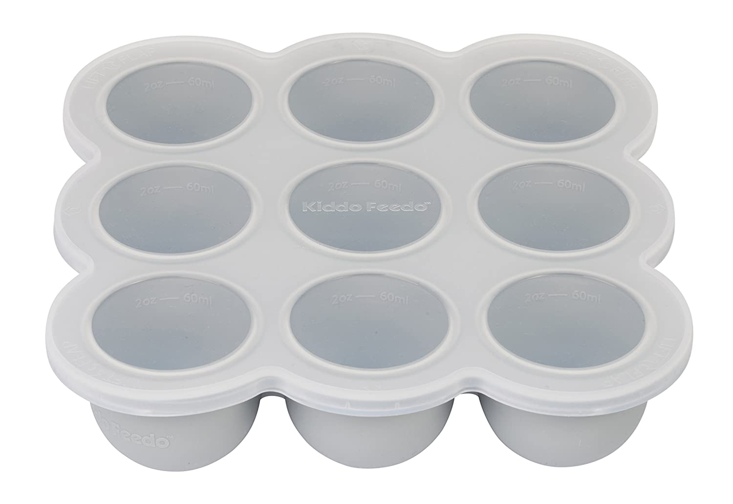Muffins and Frittatas Herbs and Ice Cubes KIDDO FEEDO Multipurpose Tray for Freezing Baby Food Gray Also a Baking Mold for Egg Bites FREE eBook by Author//Dietitian