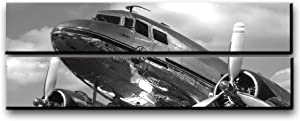 Large Vintage Airplane Wall Art Decor / Vintage Aircraft Picture On Canvas Panels / Aviation Wall Art Painting DC-3 Dakota Poster Print 22x67 inches