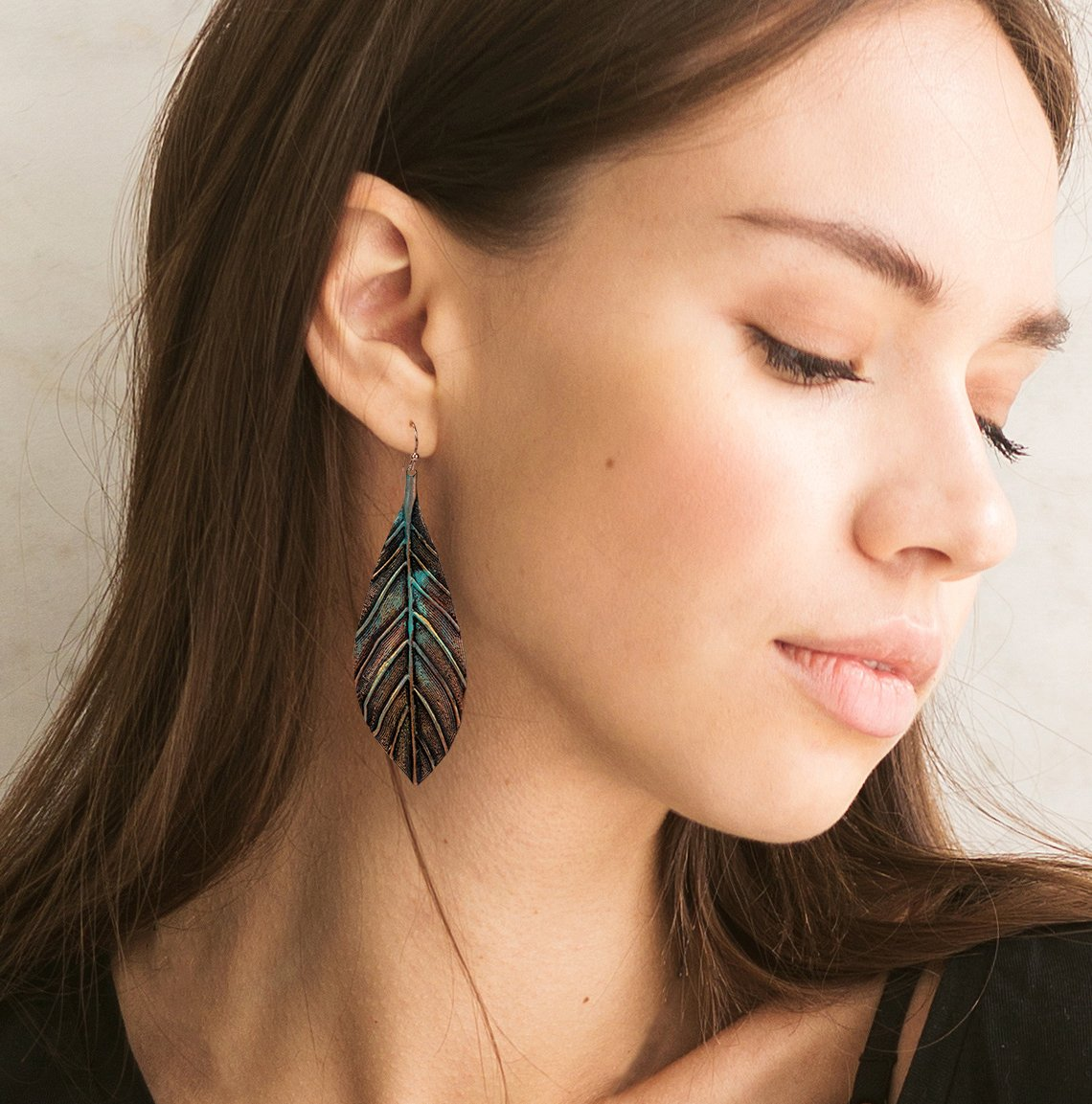 New! Handmade Boho Lightweight Statement Leaf Earrings with Detailed Texture for Women | SPUNKYsoul Collection by SPUNKYsoul (Image #2)