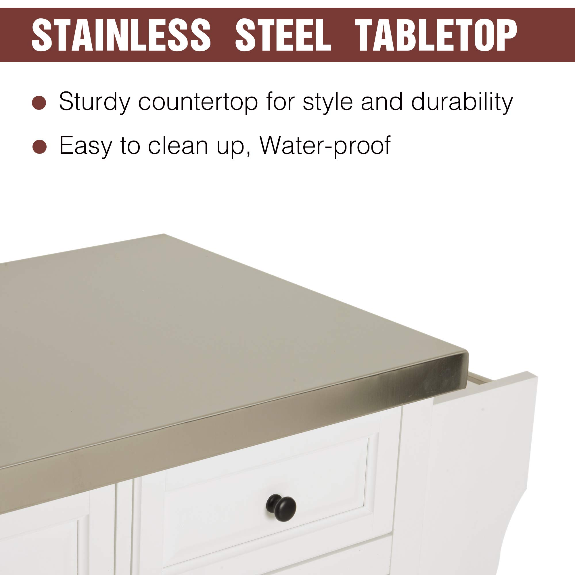 HOMCOM 51'' x 18'' x 36'' Pine Wood Stainless Steel Portable Multi-Storage Rolling Kitchen Island Cart with Wheels - White by HOMCOM (Image #5)