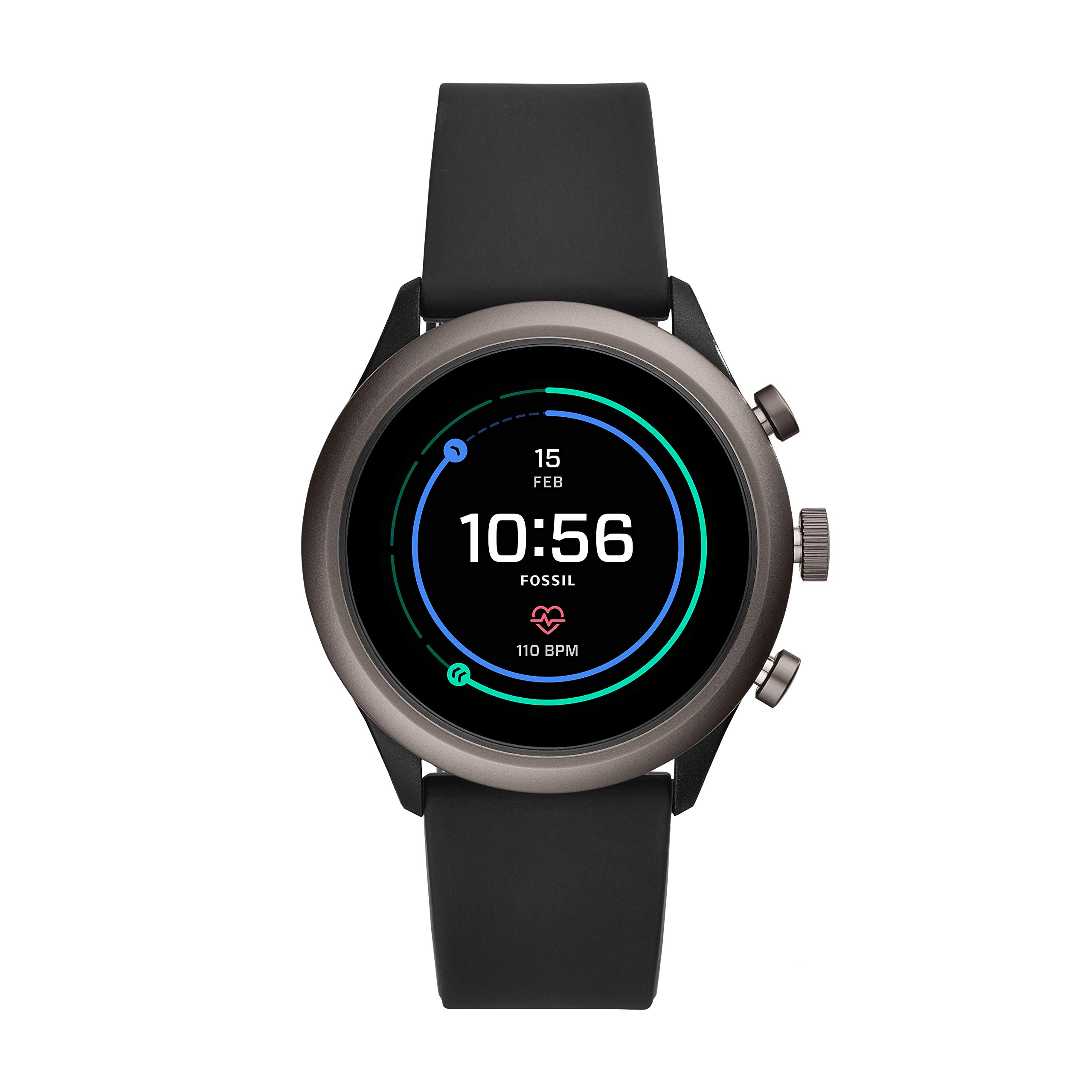 Fossil Men's Gen 4 Sport Heart Rate Metal and Silicone Touchscreen Smartwatch, Color: Grey, Black (FTW4019) by Fossil