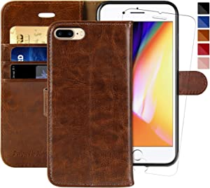 iPhone 7 Plus Wallet Case/iPhone 8 Plus Wallet Case,5.5-inch,MONASAY [Glass Screen Protector Included] Flip Folio Leather Cell Phone Cover with Credit Card Holder (Brown1)