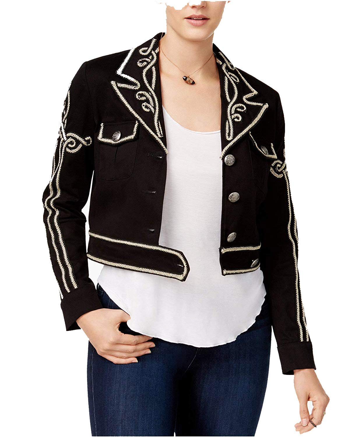 XOXO Juniors' Embroidered Cropped Jacket (Black, XL)