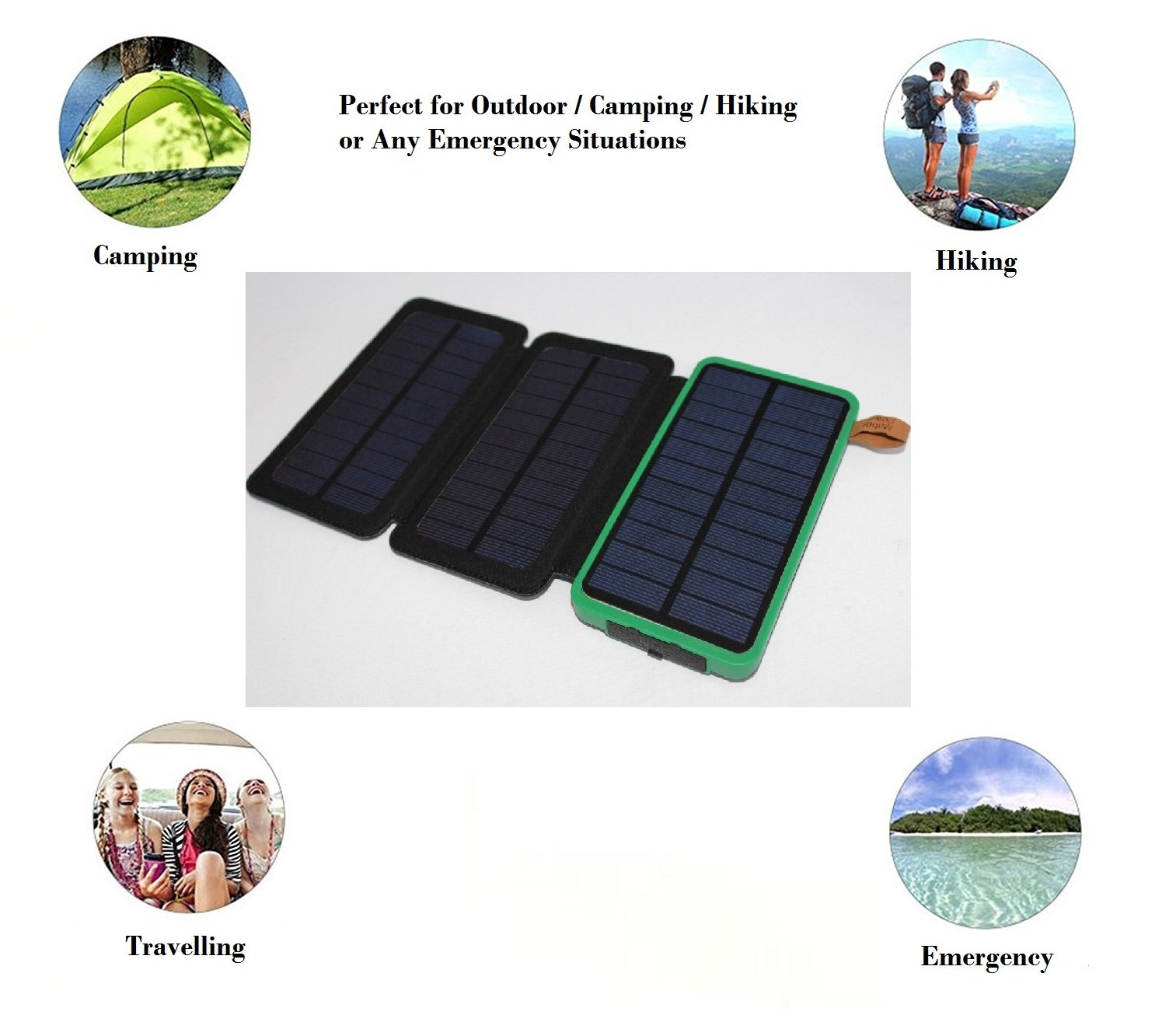 Solar Charger Waterproof 30000mAh Power Bank EZSTATION 1 or 3 Foldable Solar Panels Portable Battery Pack 2 USB For iPhoneX 8/7plus iPad Samsung Outdoor Camping Travelling (GREEN (3 Solar Panels))