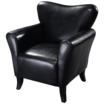 Amazon.com: Negro suave negro elegante piel Ocio silla ...