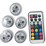 Qicai H Flameless LED Tea Lights, Multi Color Option Battery-Powered, Unscented Mini Tealight with Remote Control, Perfect for Weddings Christmas Thanksgiving Holiday Party Lighting Strobe, Set of 5