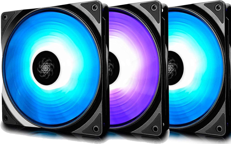 DEEP COOL RF120 PWM Ventilador RGB(120mm) Silencioso de Alto Rendimiento(3 en 1), Controlado por Controlador(Incluido) o Software de Placa Madre