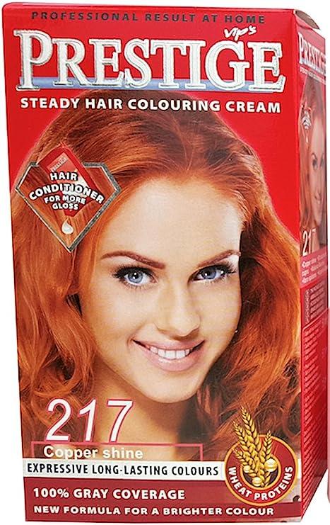 Vips prestige crema colorante para el cabello, color fulgor cobrizo 217