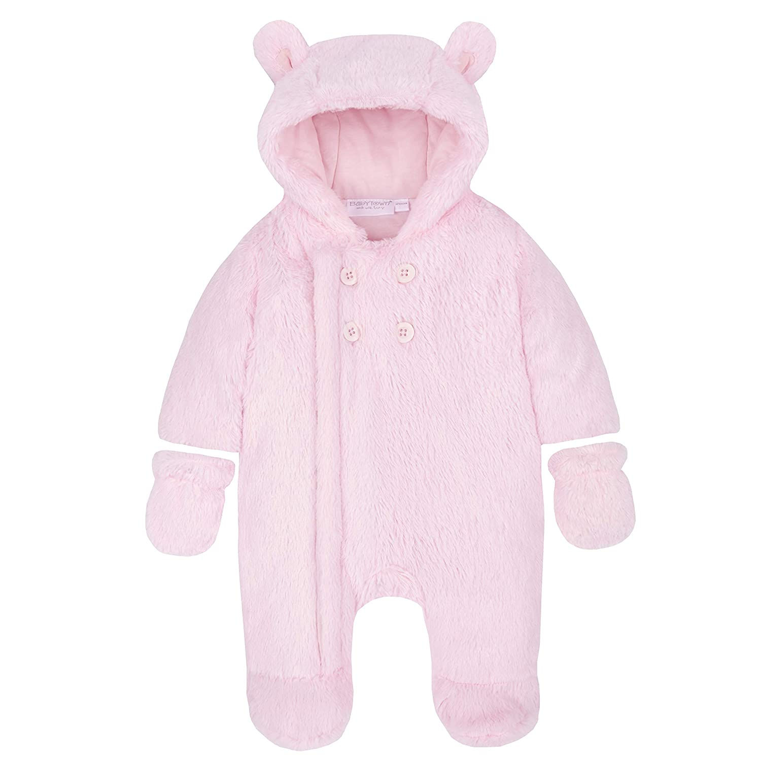 BABY TOWN Babies Snowsuit Pram Suit Feather Feel Lined Pink Cream Blue Detachable Mitts