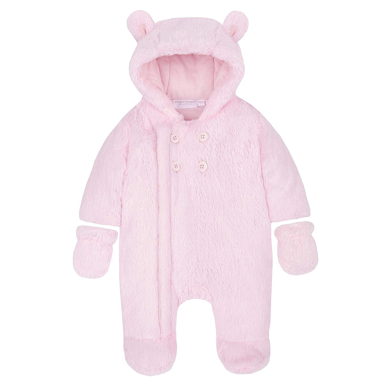 Metzuyan Unisex Baby Fluffy Pram Suit with Hood /& Mittens