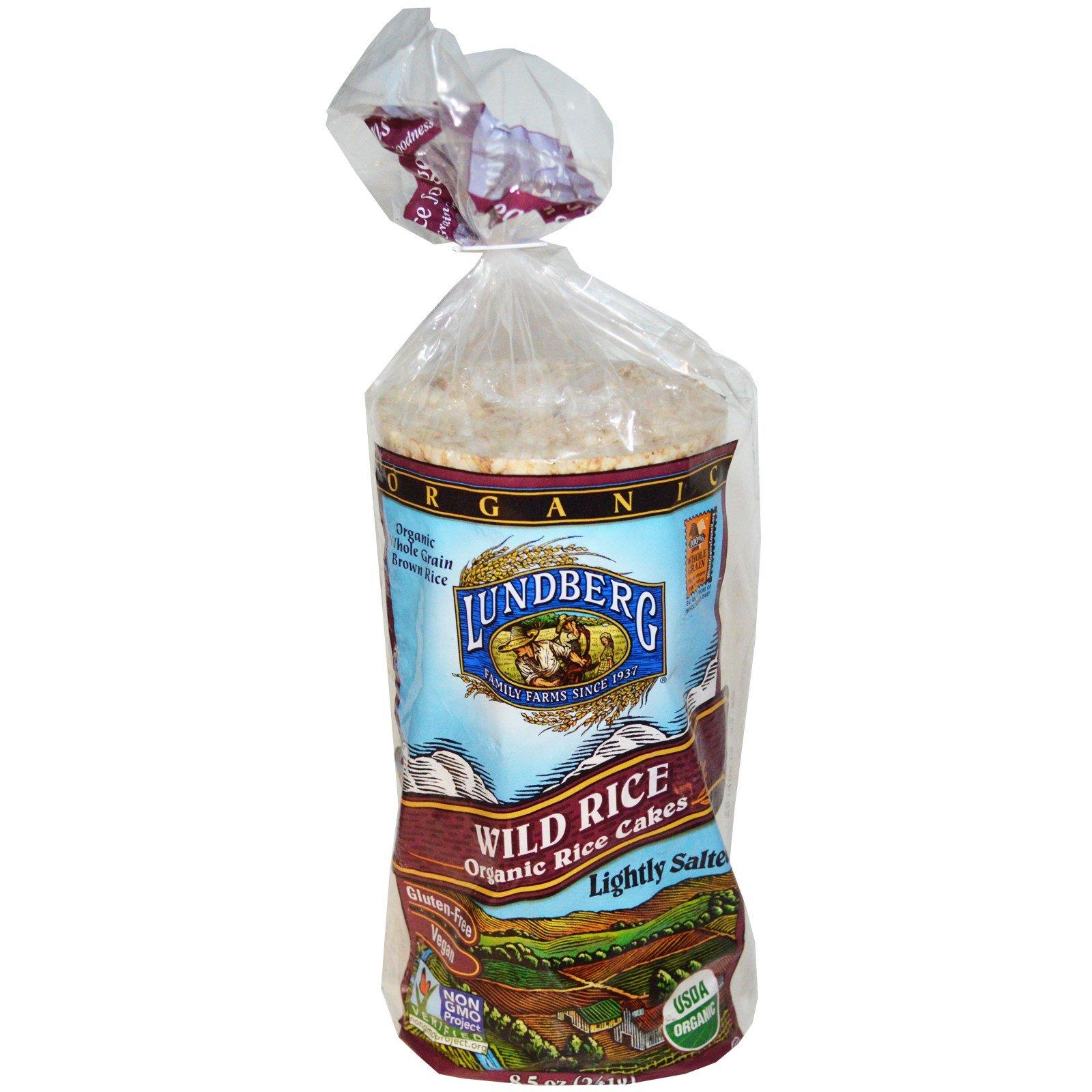 Lundberg, Wild Rice, Organic Rice Cakes, Lightly Salted, 8.5 oz(Pack of 3)