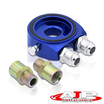 M20X1.5 10An Universal Oil Filter Cooler Adapter Relocator Blue Aluminum Plate