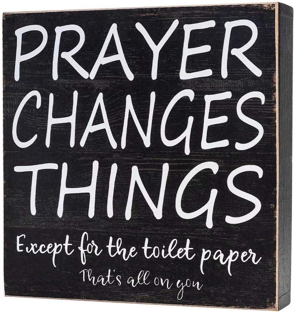"Yankario Farmhouse Bathroom Decor for Home, Rustic Bathroom Wall Decor Box Signs About 8"" Square, Prayer Changes Things"