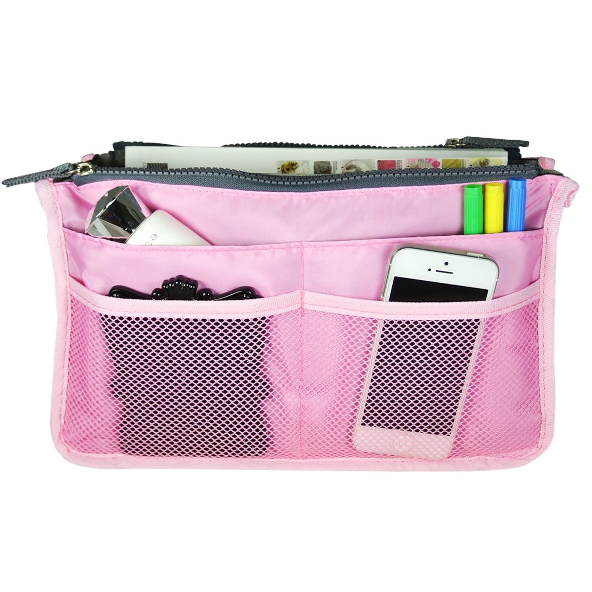 Bag Organizer Purse Insert Handbag Organizer Travel Bag, Pink