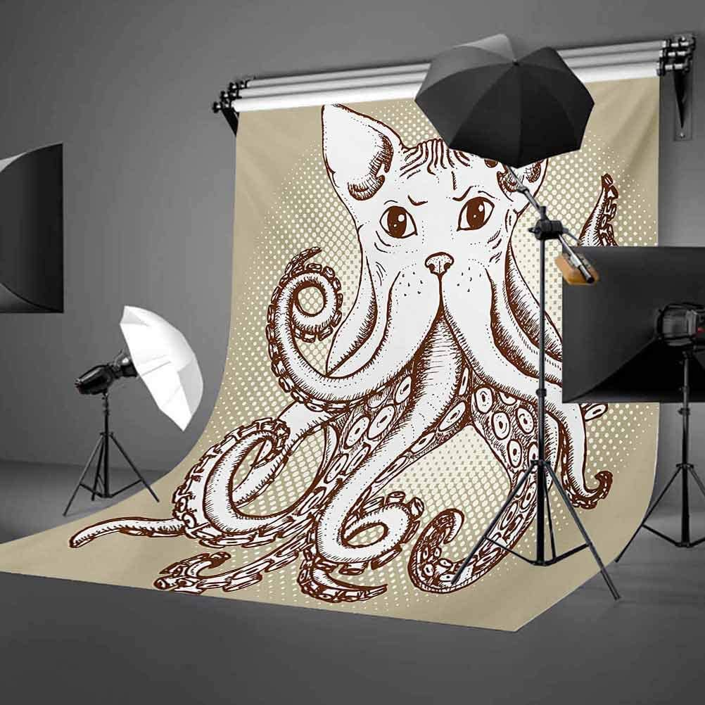 Cat 8x10 FT Photo Backdrops,Young Kitten Looking Up Watercolor Composition of House Pets Brush Marks Effect Background for Baby Shower Birthday Wedding Bridal Shower Party Decoration Photo Studio