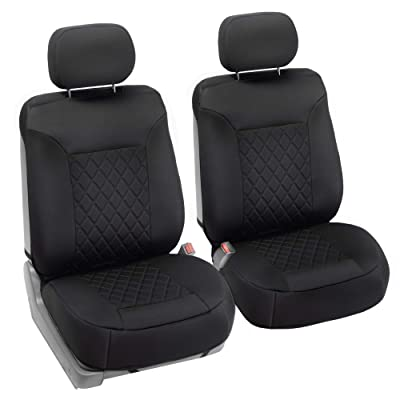 FH Group Universal Fit Seat Cover - Faux Leather Black-Neoprene: Automotive