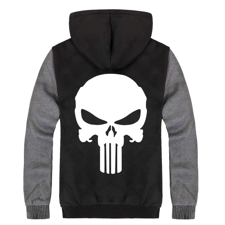 EUSHOP Mens Punisher College Jacket Skull Hoodie Hooded Jacket Fleece Fashion Casual Full-Zip Coat Pullover Sweater