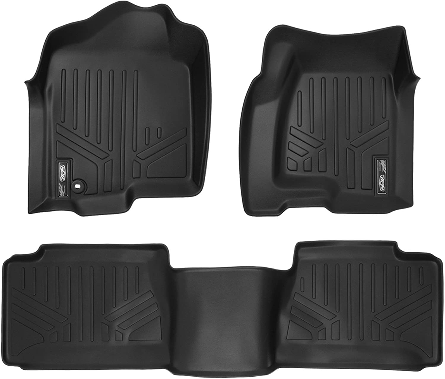 MAXLINER Floor Mats 2 Row Liner Set Black for 2001-2007 Silverado/Sierra 1500/2500/3500 Extended Cab Classic Body Style
