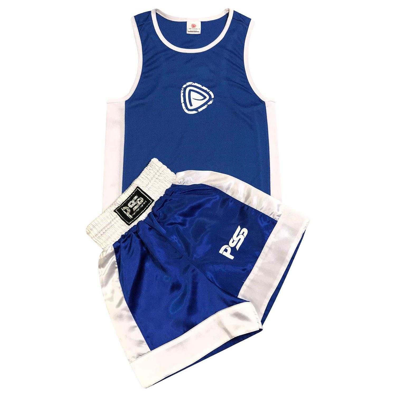Prime Sports - Conjunto infantil de boxeo (camiseta y pantaló n corto, 9 - 10 añ os), color azul y blanco 9 - 10 años) PRIME LEATHER