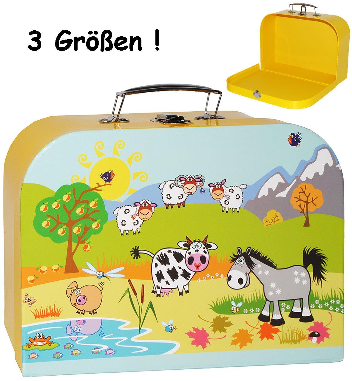 alles-meine.de GmbH 3 TLG. Set _ Kinderkoffer / Koffer - in 3 Verschiedenen Größen - Bauernhof / Tiere - incl. Name - Kofferset - ideal für Spielzeug und als Geldgeschenk - M..
