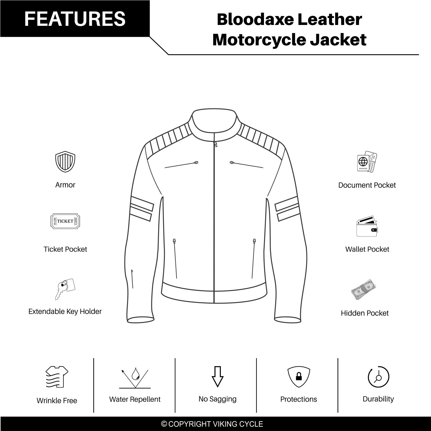 Viking Cycle Bloodaxe Leather Motorcycle Jacket for Men (X-Small) by Viking Cycle (Image #4)