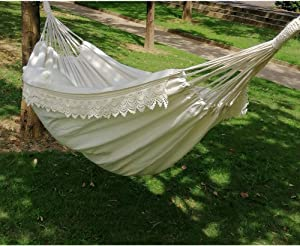 Brazilian Double Hammock, Boho Large Fringe Swing Bed - Portable 2 Person Hammock for Patio, Porch, Backyard, Outdoor and Indoor with Carrying Bag, Tree Hammock - Soft Cotton Fabric(White)