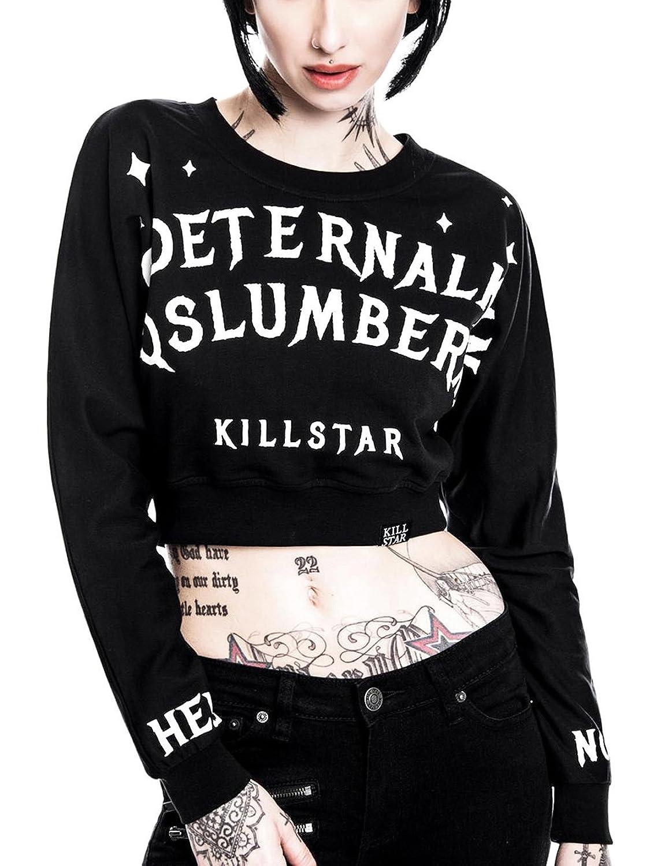 Killstar Gothic Okkult bauchfreier Pullover Schwarz Dropout Bite Me