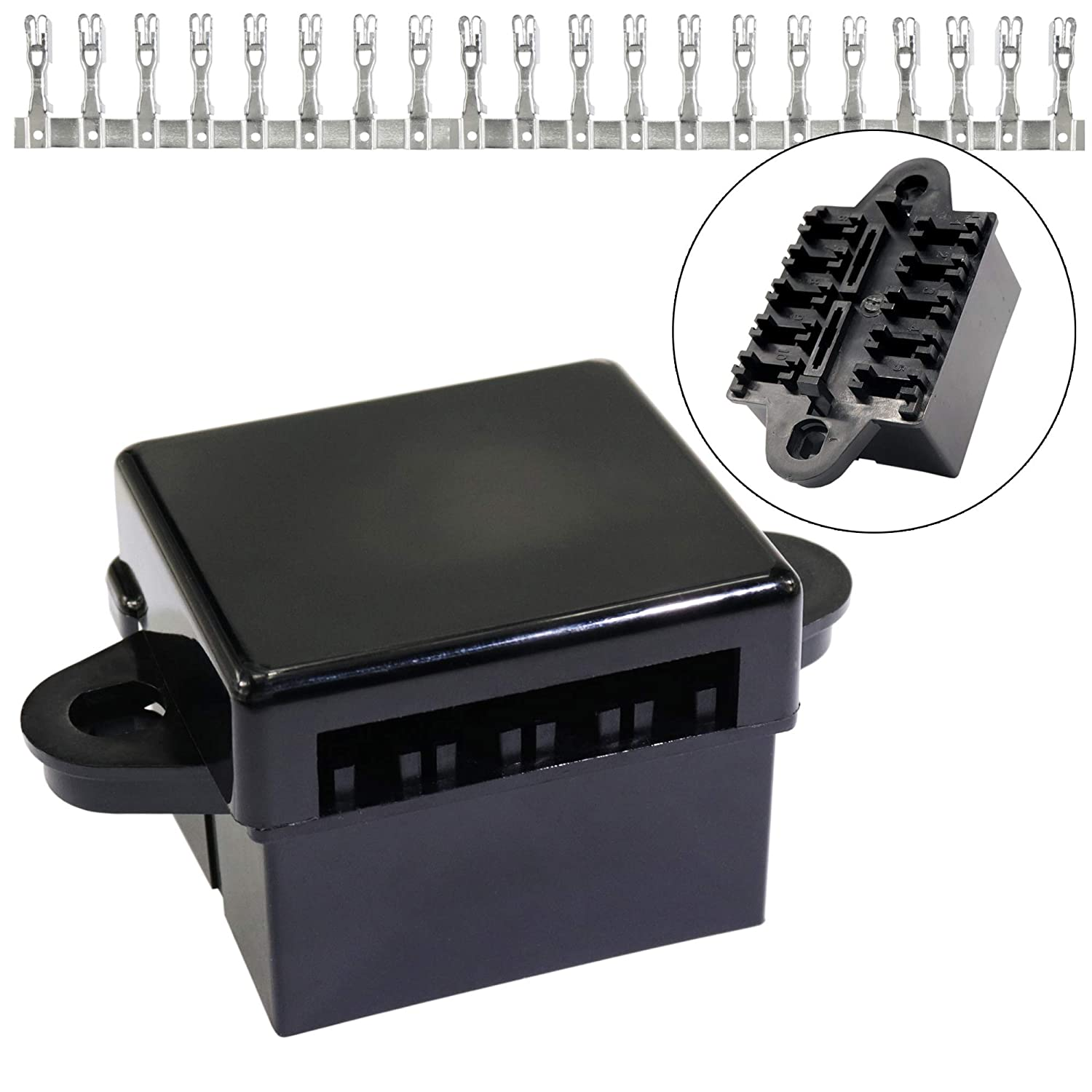 21-Slot Relay fuse Box- relay ATO/ATC fuse holder with relays and fuse, Spade Terminals for Automotive trailer and Marine Use iztor