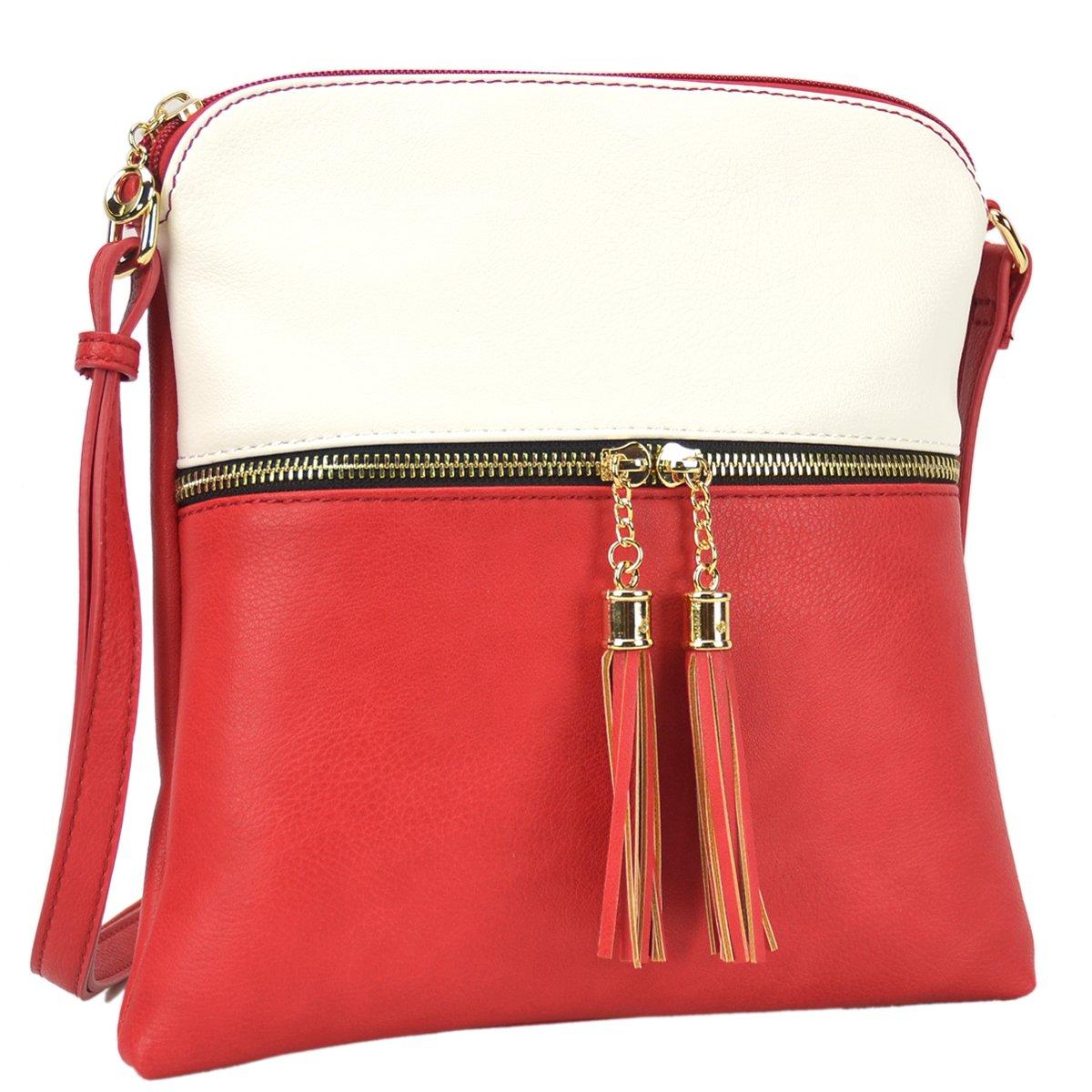 Lightweight Women Crossbody Bags,Travel Shoulder Messenger Purse Medium Size Clutch Multi Zipper Designer Satchel for All Seasons (MKP-LP062-WT+WM)