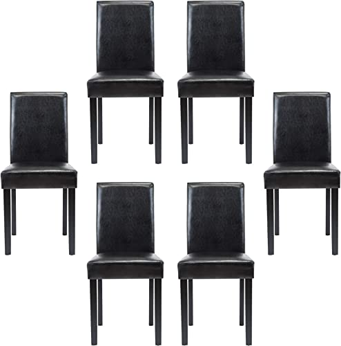 Thksbought Modern PU Upholstered Dining Chairs Elegant Design Dining Room Chairs Black Set of 6