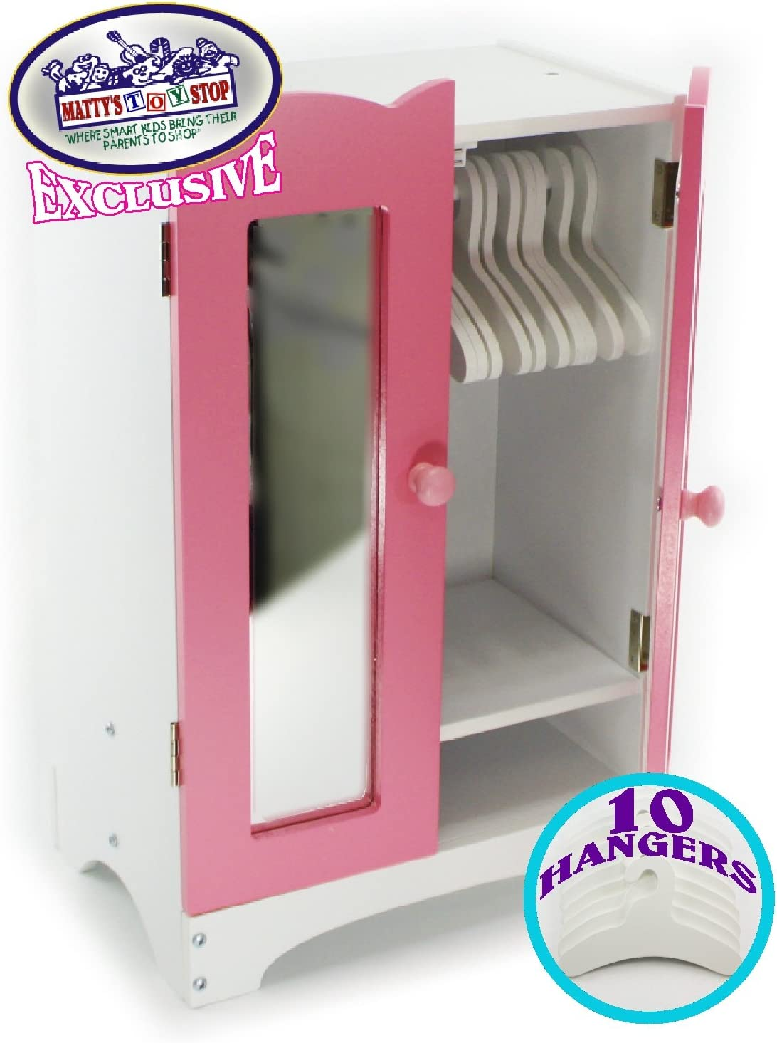 Matty's Toy Stop 18 Inch Doll Furniture Pink/White Wooden Armoire Closet with 10 Hangers - Fits American Girl Dolls