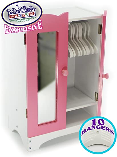 Matty/'s Toy Stop Pink//White Wooden Doll Furniture Doll Vanity with Bench and Out