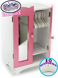Mattyu0027s Toy Stop 18 Inch Doll Furniture Pink/White Wooden Armoire Closet  With 10 Hangers