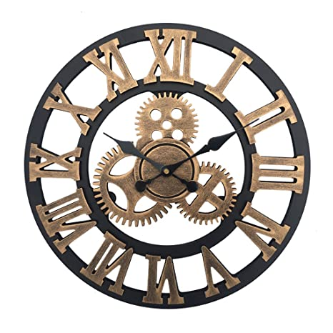 GRH Novedad Reloj de pared de 12 pulgadas Reloj 3d Reloj de pared de madera Relojes