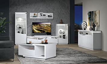 Wohnzimmer Komplett - Set B Patamea, 6-teilig, Farbe: Weiß Hochglanz ...