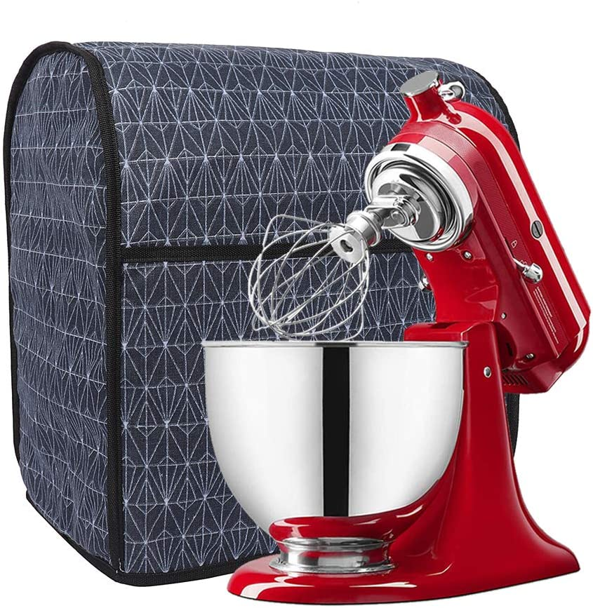 Blue Mixer Cloth Cover with Spacious Accessory Pockets,Fits All Tilt Head /& Bowl Lift Models,Wide Usage Size 14inch x 9inch x 16inch L x W x H Stand Mixer Cover Kitchen Aid Mixer Dust Cover