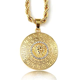 Amazon 14k yellow gold aztec charm mayan calendar pendant 254 halukakah medusa mens 18k stamp real gold plated 3d pendant necklace with free rope aloadofball Image collections