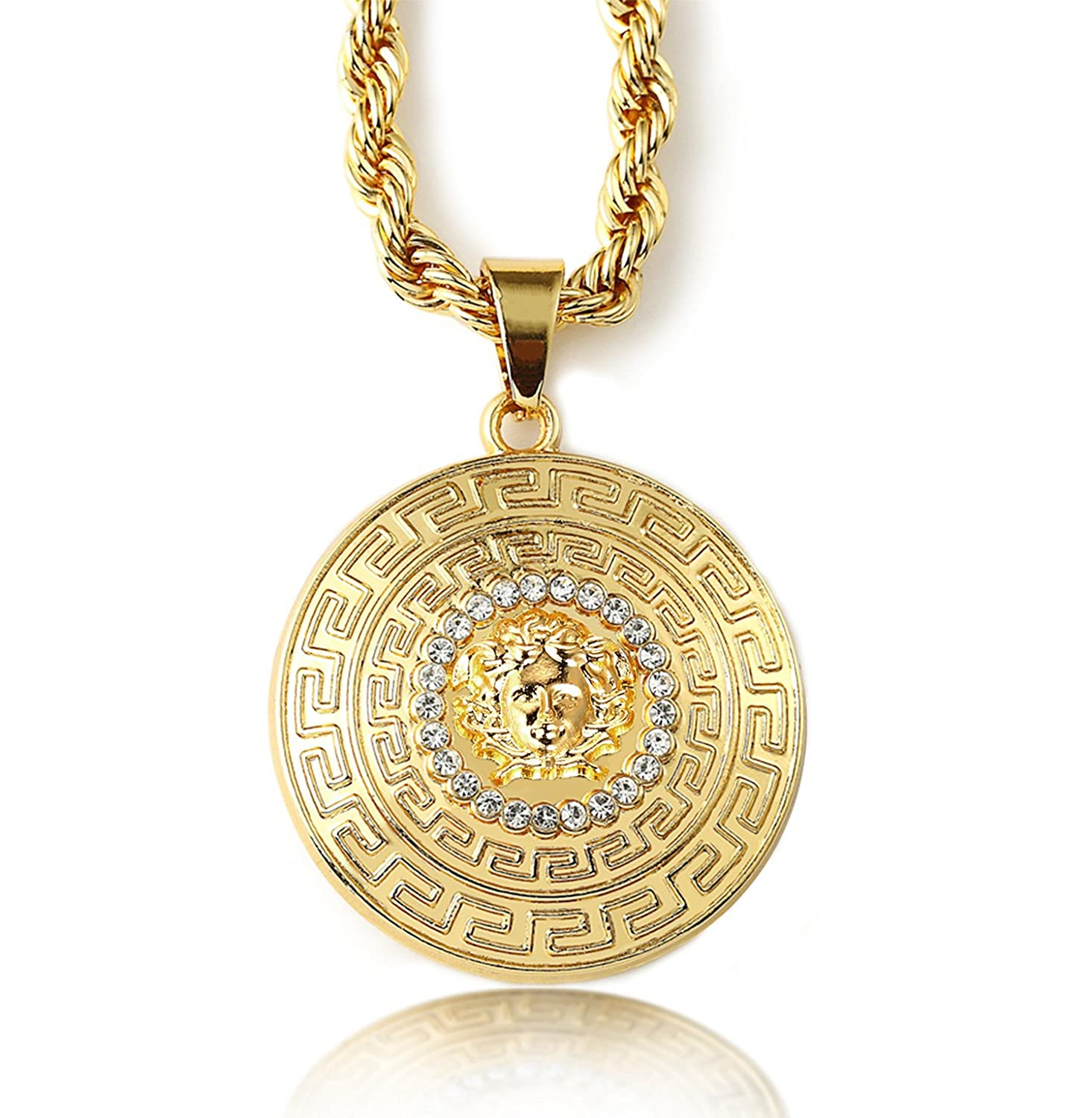 Halukakah medusa mens 18k stamp real gold plated 3d pendant halukakah medusa mens 18k stamp real gold plated 3d pendant necklace with free rope chain 30 thick 5mm amazon mozeypictures
