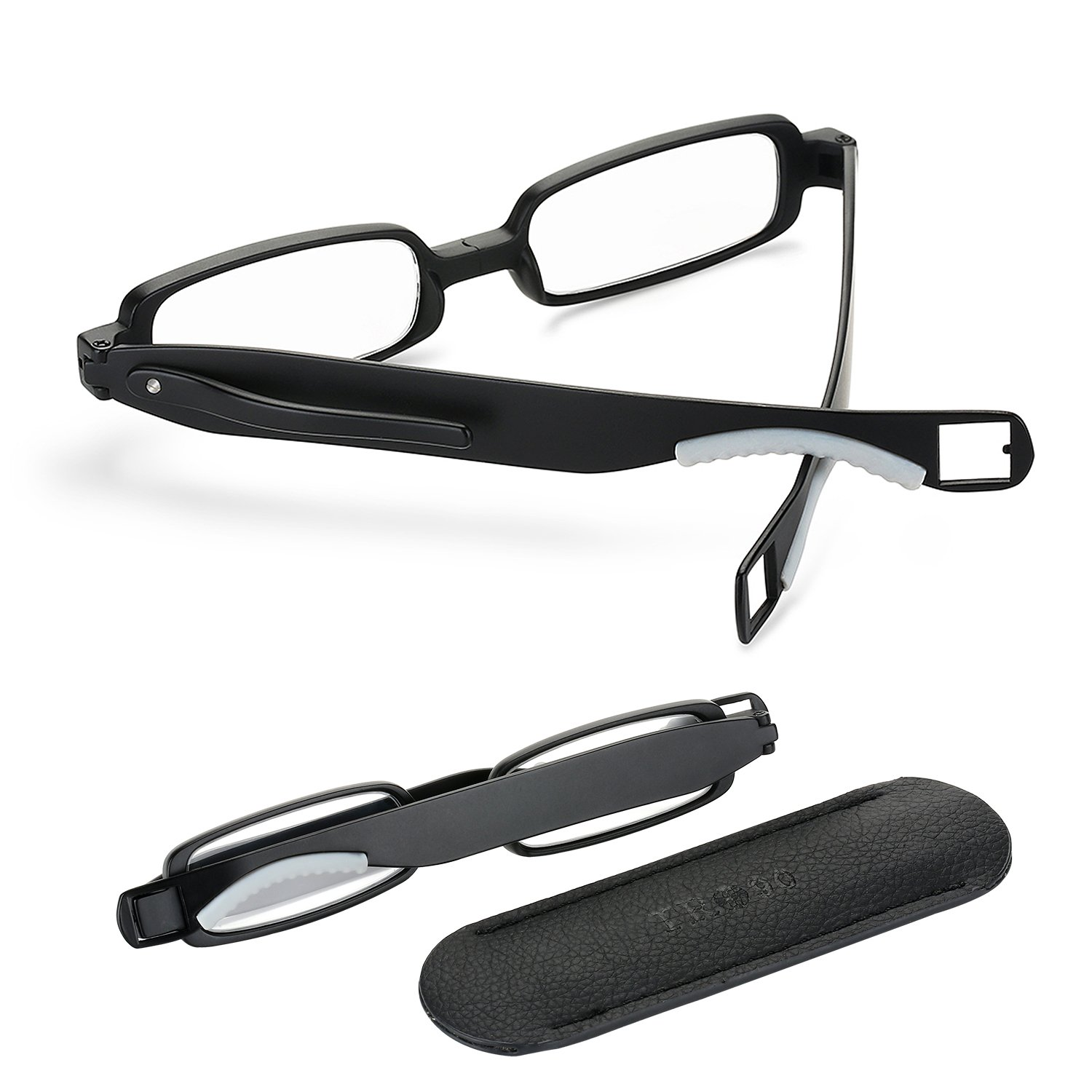 47198faae6e5 Amazon.com  1 Reading Glasses Men Women Mini Portable 360° Rotating Folding  Designer Clip Readers,Small Cute Black Compact Lightweight Plastic Flexible  ...