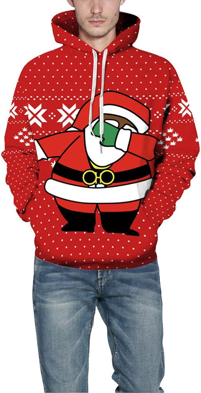 swimstore Unisex Red Christmas Hoodie Funny Dabbing Santa Printing 3D Hoody Sweatshirt Hoodies with Pocket