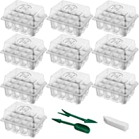 SUNNIOR 10 Sets Seedling Starter Tray, Greenhouse Grow Trays Plant Starter Kit with Adjustable Dome and Base, Seed…