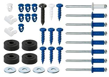 Cora 000116012 Kit de fijación completo para placas de matrícula con 8 Remaches, 8 tornillos