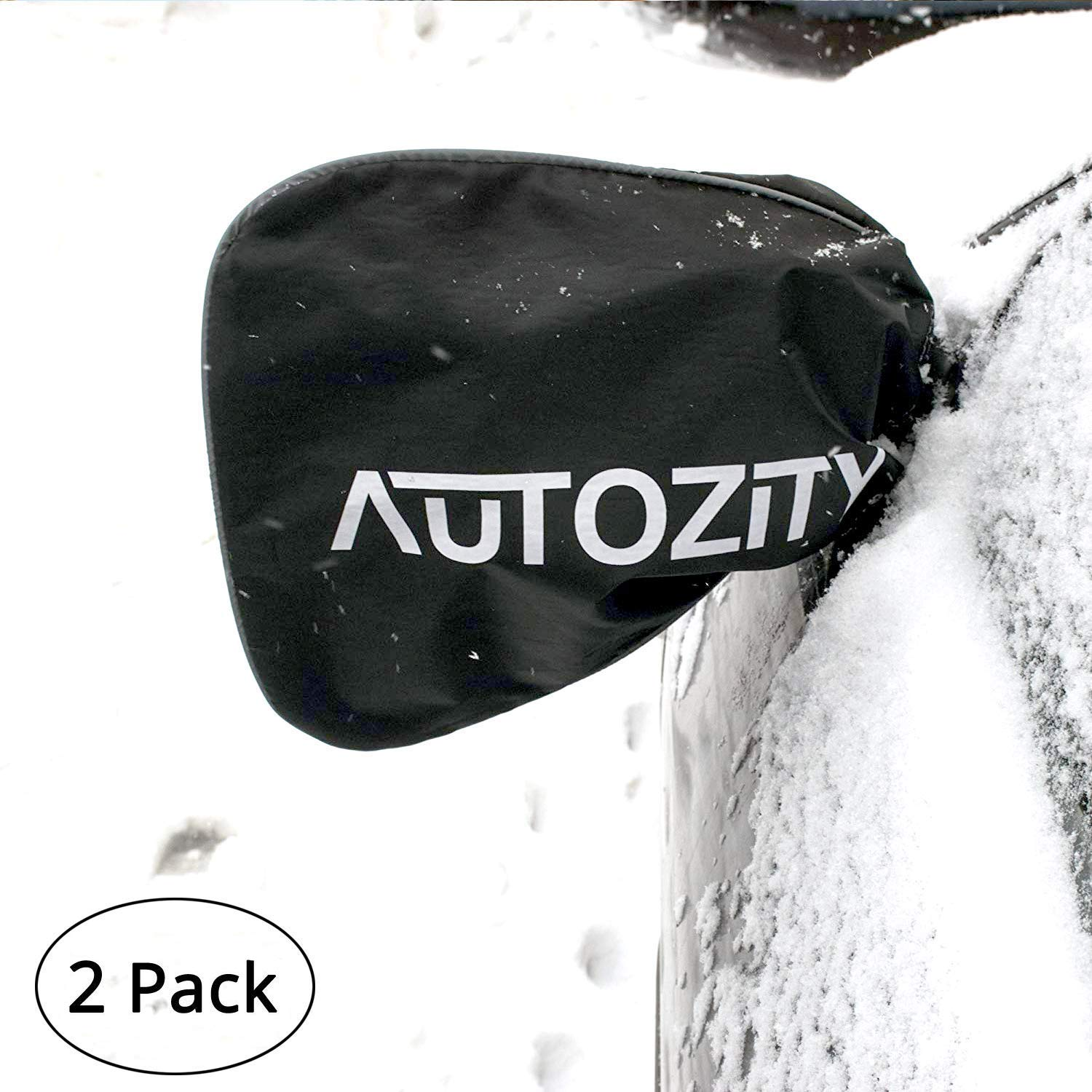 Car Side Mirror Snow Covers Set, Car Mirror Covers Protect Auto Exterior Rear View Mirrors from Snow, Ice & Frost, Reflective Print and Margin with Anti Theft Mechanism PlanToys